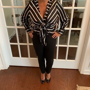 Black and white striped silky blouse
